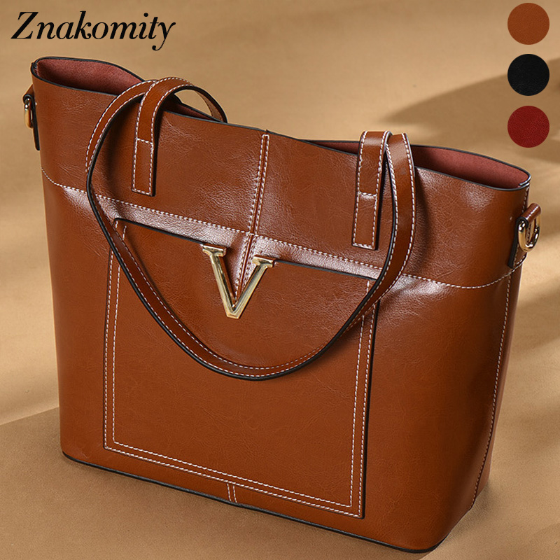 Znakomity Luxury vintage genuine leather handbag womens bags real leather Casual supreme shoulder bag women ladies hand bags