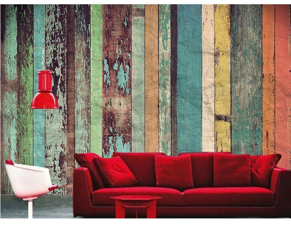 Wallpaper For Living Room 3d Old Fashion Wood Board Pattern 3d Custom Room Wallpaper