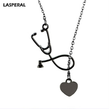 LASPERAL Heart Stethoscope Shaped Pendant Necklace Electrocardiogram Clavicle Chain Necklaces Patry Accessories Jewelry