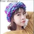Женская мода Hat Супер Толстых Нитей Ручной Вязаная Шапка Зимняя теплый Слауч Шапочка Лыж Cap Грубой Линии Толщиной Шерсти Вязание Hat