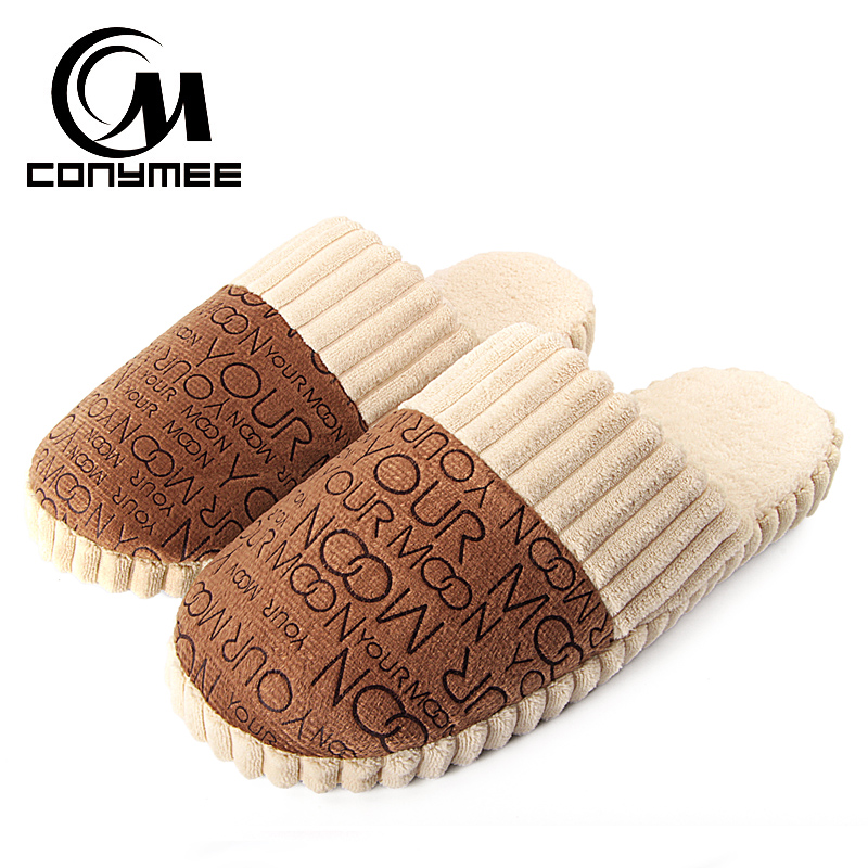 CONYMEE Winter Indoor Slippers For Men Casual Home Sneakers Warm Shoes Soft Plush Male Cotton Slipper Pantufas Suede Shoe Terlik цена