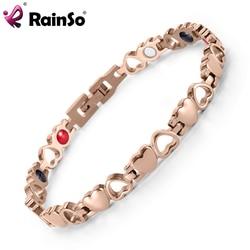 Rainso Women's Elegant Rose Gold Titanium Steel Heart Magnetic Bio Bracelet 4 Elements Therapy Bracelet OSB-082RGFIR