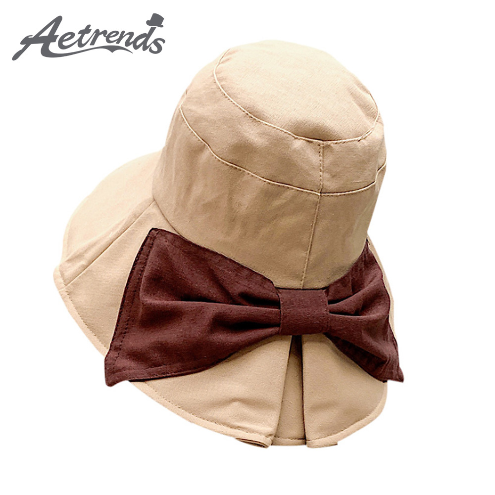 Industrious aetrends Large Brim Big Bow Foldable Summer Bucket Hats For Women Outdoor Beach Caps Casquette Gorras Chapeu Feminino Z-6876