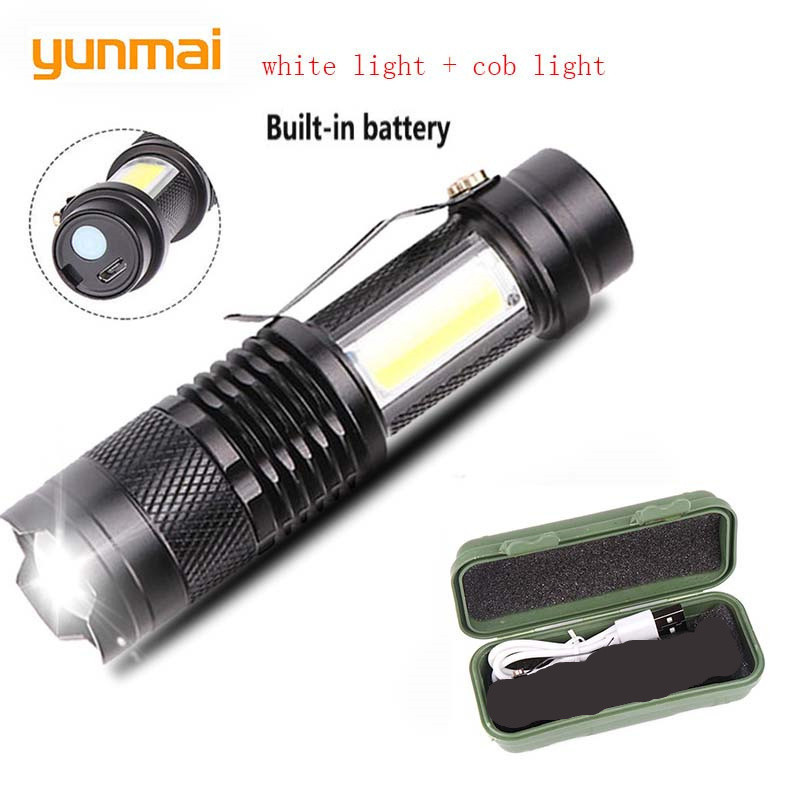 Yunami Usb Rechargeable 3800lm Q5+cob Led Flashlight Portable Built-in 14500 Batery Mini Zoom Torch Waterproof In Life Lantern