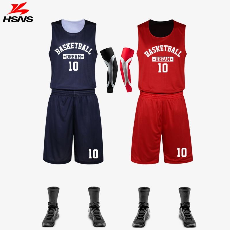 ff47fa87e97e Reversible Men Basketball Set Jersey and Shorts 2PCS Custom LOGO Name  Double-side Suit Sportswear