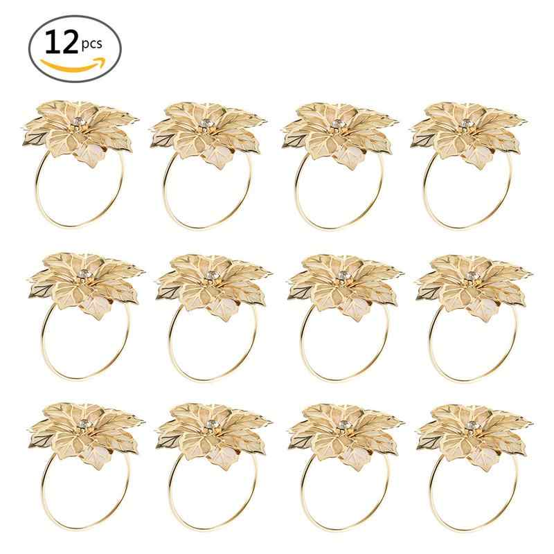 12pcs/set alloy flower Design Napkin Rings for Wedding Receptions Gifts Holiday Banquet Dinner Christmas Table Decoration 40