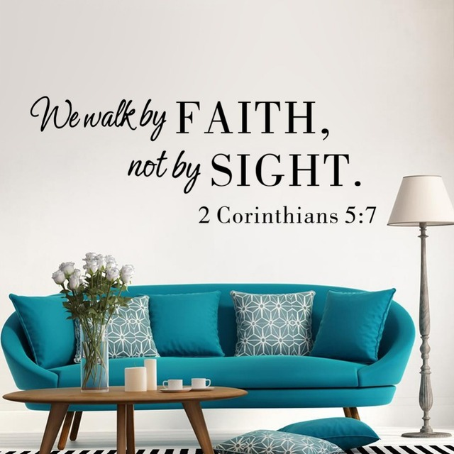 Bible We Walk By Faith Vinyl Quote Wall Art Decal Home Decor Living Room  Diy Wallpaper