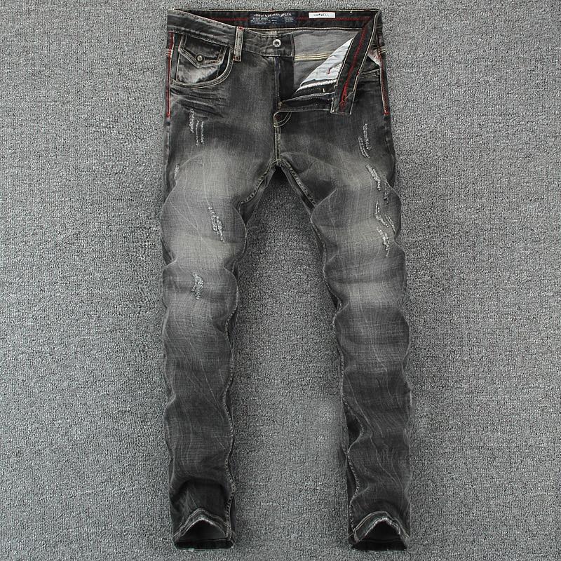 Italian Vintage Designer Men Jeans Black Gray Color Slim Fit Ripped Jeans Homme 100% Cotton Denim Pants Brand Biker Jeans Men