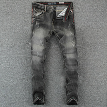 купить Italian Vintage Designer Men Jeans Black Gray Color Slim Fit Ripped Jeans Homme 100% Cotton Denim Pants Brand Biker Jeans Men дешево