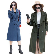 Winter 2016 New Women's Fashion In The Long Trend Of Casual Thin Double Breasted Hybrid materia Wool Coat Long Windbreaker