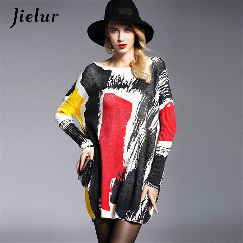 Jielur Mode Herbst Plus Größe frauen Winter Pullover Pullover Lose Fledermaus Ärmel Hit Farbe Gedruckt Dame Strickpullover Weibliche