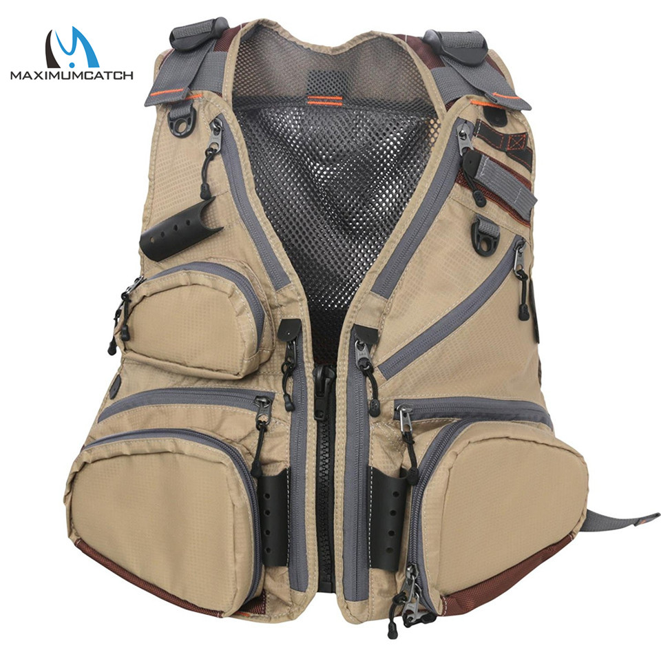 Maximumcatch Breathable Wildcreek Mesh Fly Vest 16 Multi-Function Pockets Outdoor Fishing Jacket summer outdoors tactical mesh multi pockets vest men breathable shooting director photographer hunting hiking vest big size 6xl