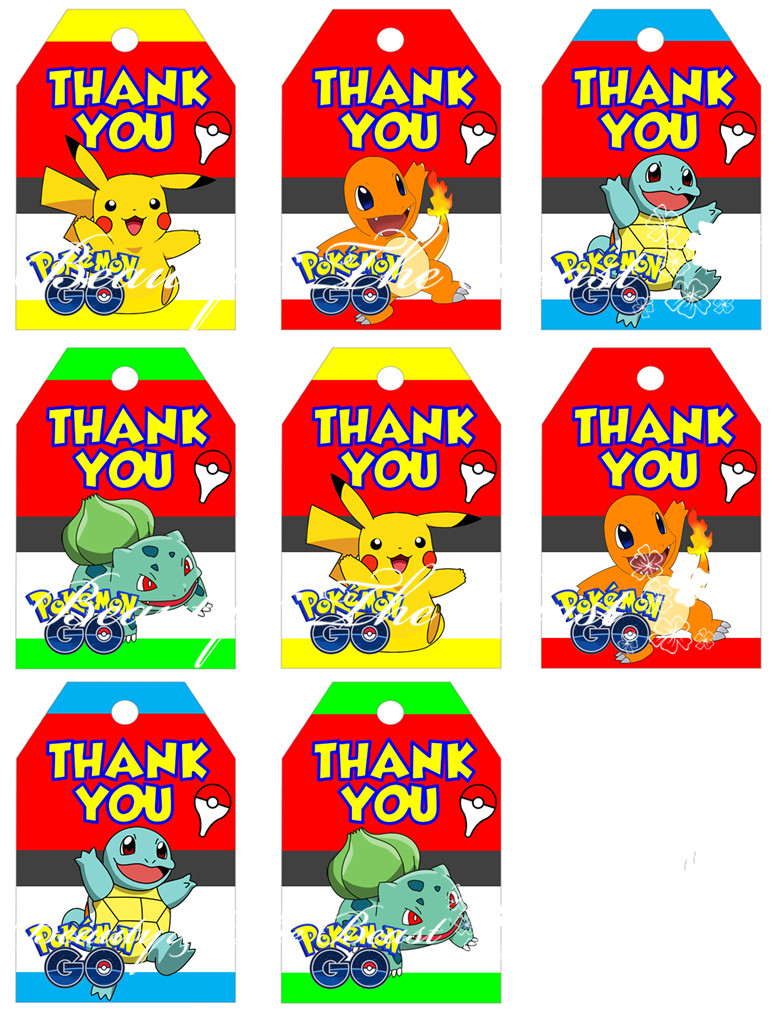 Pokemon Go Favor Tags Thank You Gift Favors Birthday Party Decorations Kids Supplies