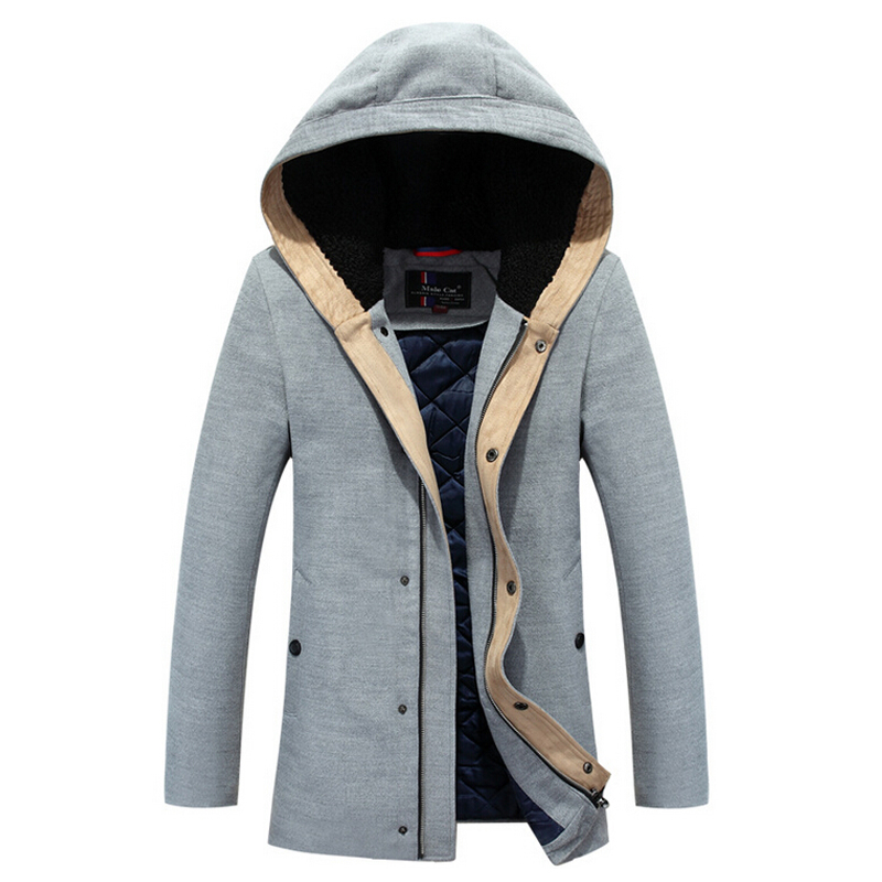 Long Section Men's Wadded Jacket Fashion Solid Cotton-padded Clothes Trench Coat Hooded Jacket Casual Outerwear Slim Parka M-3XL new men s military style casual fashion canvas outdoor camping travel hooded trench coat outerwear mens army parka long jackets