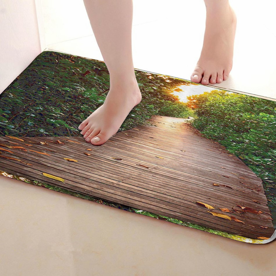 Wood Road Style Bathroom Mat,Funny Anti skid Bath Mat,Shower Curtains Accessories,Matching Your Shower Curtain