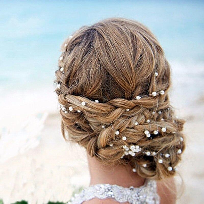 Fashion Faux Pearl Head Chain Baroque Queen Silver Crown Tiara Wedding Bride Headband Hair Accessories Head Piece tiara de noiva