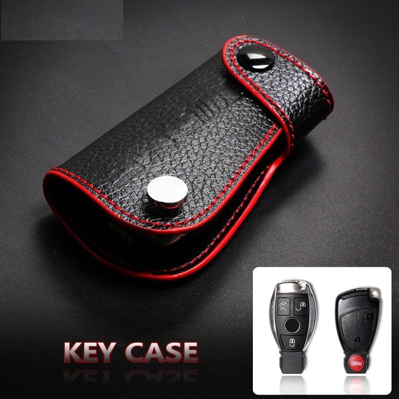 Cowhide Leather Car Key Case Cover Shell For Mercedes Benz W204 W203 W205 W211 C S E Class GLA GLK Keychain Accessories