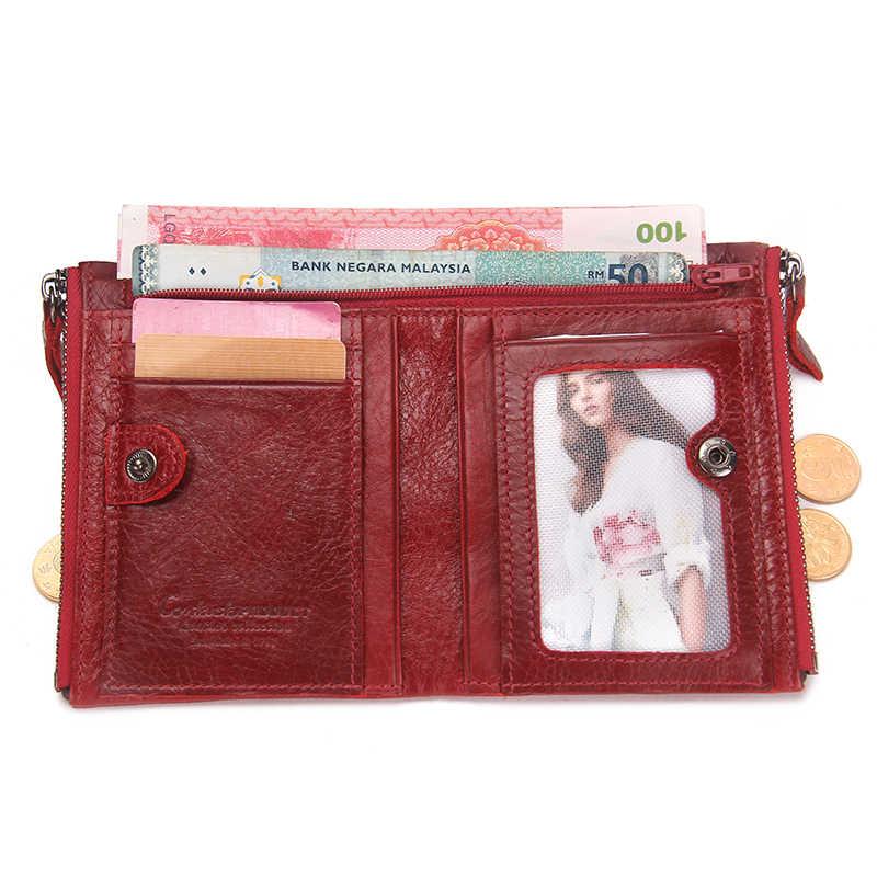2020 موضة جلد طبيعي المرأة المحفظة ثنائية أضعاف محافظ الأحمر حامل بطاقات التعريف الشخصية محفظة نسائية للعملات المعدنية مع مزدوجة سستة صغيرة المرأة المحفظة