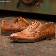 QYFCIOUFU Luxury Italian Vintage Genuine Cow Leather Men Brogue Shoes Wedding Oxford Shoes Lace-Up Office Men's Dress Shoes