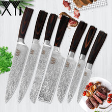 XYj New Arrived Kitchen Knives Good Quality Stainless Steel Kitchen Knives Set Color Wood Handle Chef Slicing Chopping Knives(China)