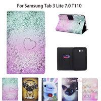 Детские планшеты чехол для Samsung Galaxy Tab 3 Lite 7,0 SM-T110 T111 T115 T116 окрашенные кремния чехол из ПУ кожи Стенд Shell