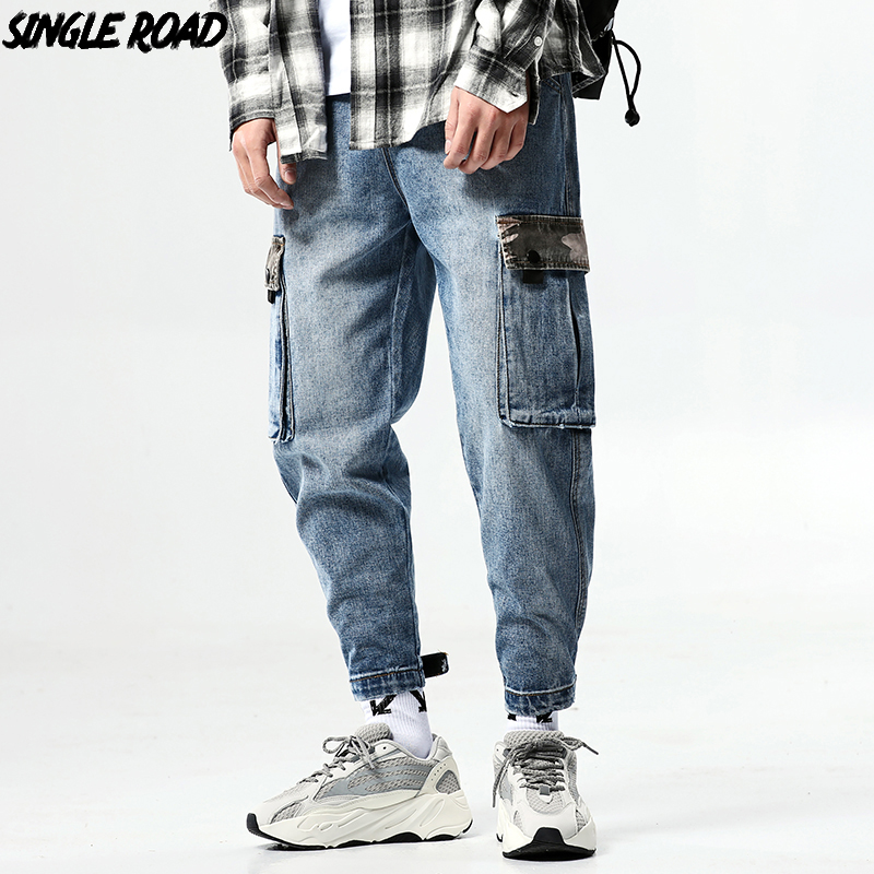 SingleRoad Men's Blue Jeans Men 2019 Camo Side Pockets Denim Cargo Pants Male Ankle Length Streetwear Hip Hop Trousers Jeans Men