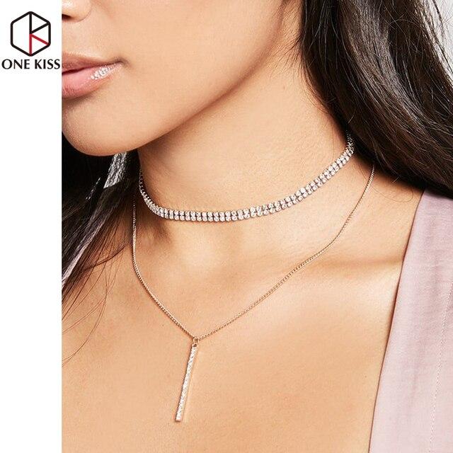 c83c9da265c6 2018 doble capa de lentejuelas gargantilla collares Lariat cadena larga  colgante mujeres Rhinestone declaración Collar joyería
