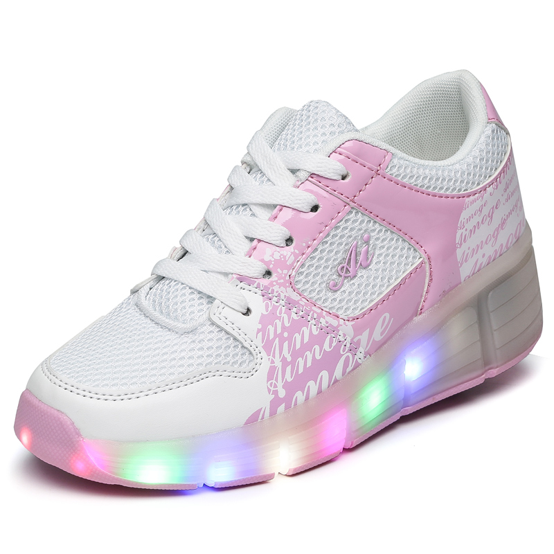 Wheel Shoe Children Shoes With Wheel Boy   Gilrs LED Lighted Roller Skates  Sport Casual Roller Shoes Fashion Kids Flash Sneakers-in Sneakers from  Mother ... 48cf3b4f8