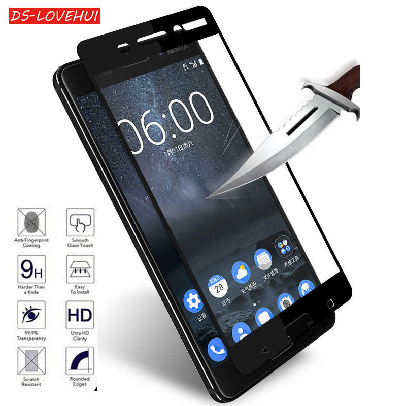 DS-LOVEHUI 9H Full Cover Tempered Glass For Nokia 8 6 5 3 Toughened Protective Glass Screen Protector Explosion Proof Film