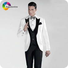 Italian White Men Suits for Wedding Black Peaked Lapel Slim Fit Groom Tuxedos Custom Made Costume Homme 3Piece Best Man Blazers