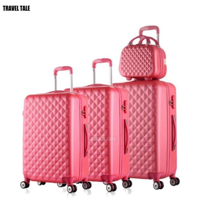 Travel tale spinner Дорожный чемодан из АБС набор жесткие стороны багажная сумка на колесиках комплекты одежды 3 предмета в комплекте