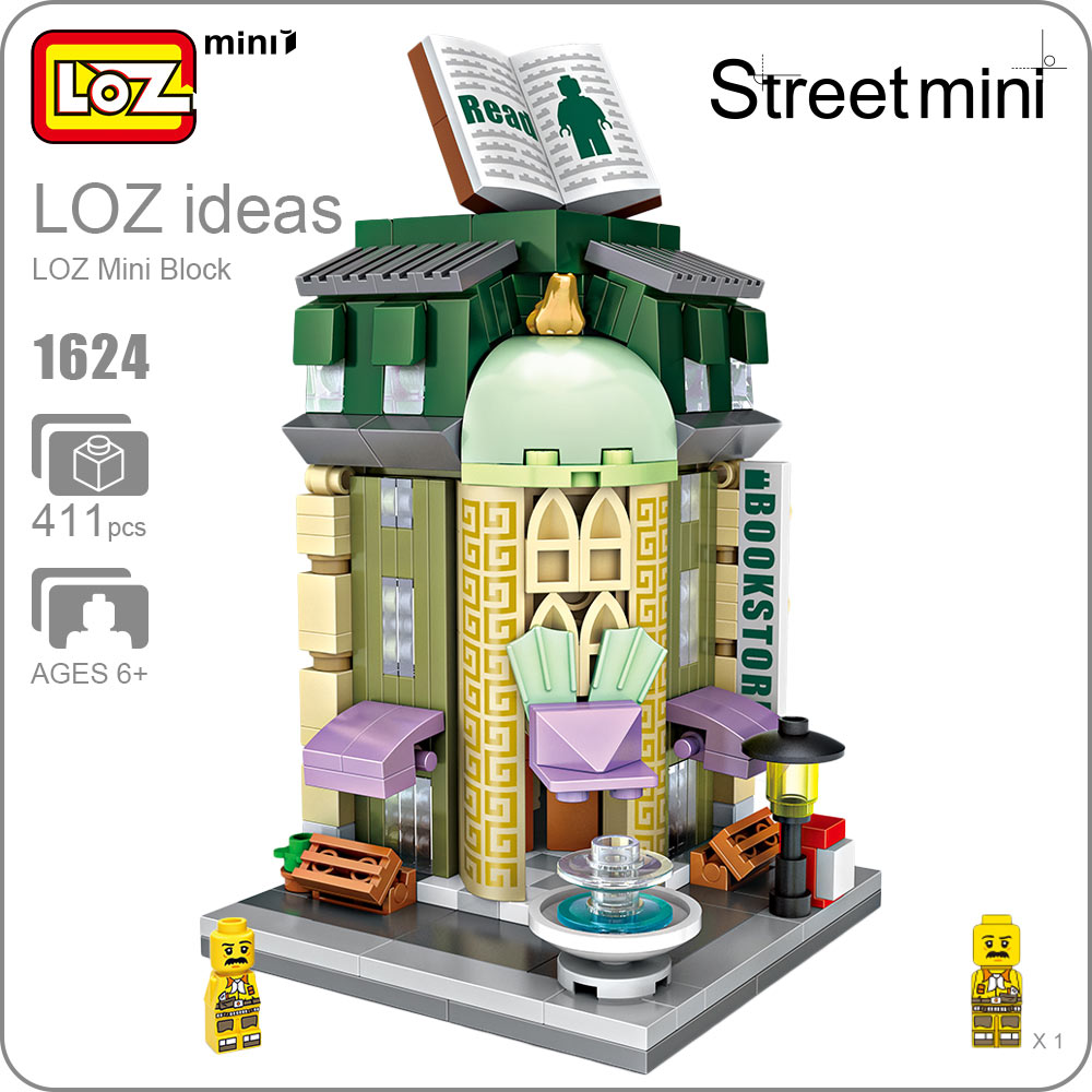 LOZ Mini Blocks Mini Street View Bookstore Plastic Toy Bricks Small Building Blocks Set Architecture Assembly Educational 1624 loz street view architecture building brick 303pcs