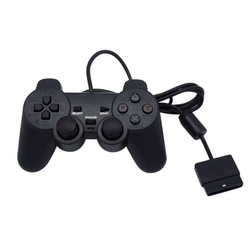 Negro controlador con cable 1,8 m doble Shock remoto joystick Gamepad Joypad para PlayStation 2 PS2 K5