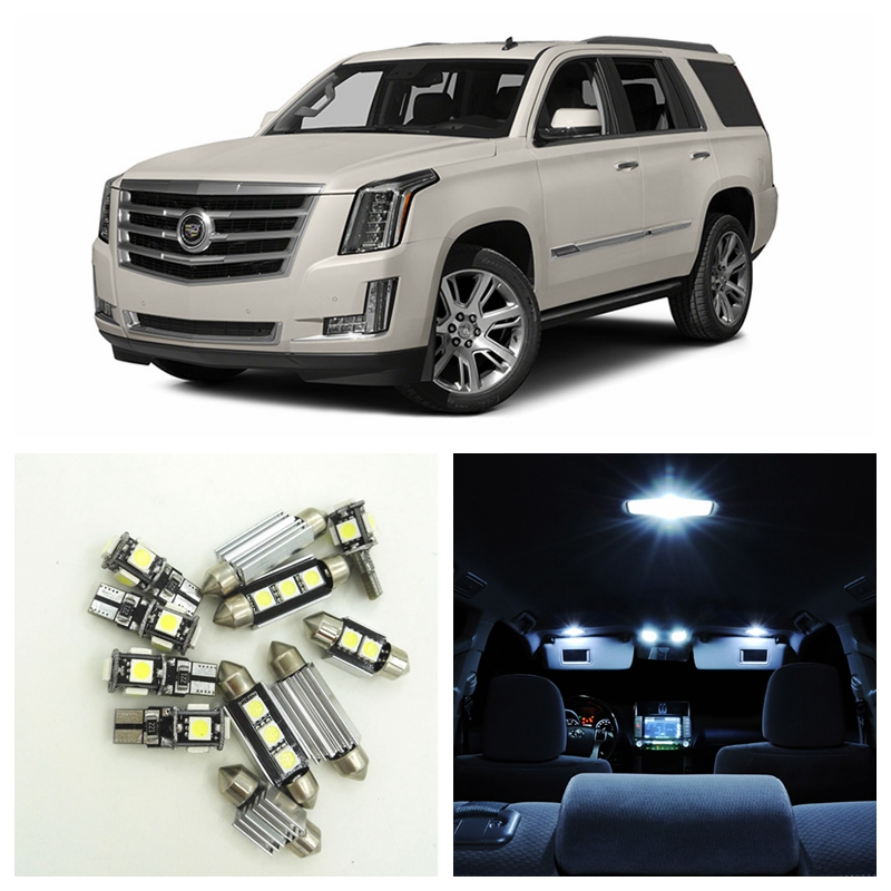 17pcs White Canbus Car LED Light Bulbs Interior Package Kit For 2007-2015 Cadillac Escalade Map Dome Trunk License Plate Lamp 14pcs error free white canbus car led light bulbs interior package kit for 2002 2007 volvo v70 estate xc70 map dome trunk lamp