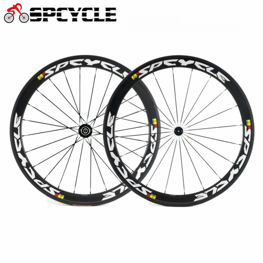 Spcycle 700C Carbon Road Bike Wheels 50mm Clincher Racing Bicycle Carbon Wheelset 3k Glossy 23mm width
