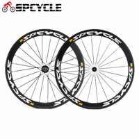 Spcycle 700C カーボンロードバイクホイール 50 ミリメートルクリンチャーレース自転車カーボンホイールセット 3 k 光沢のある 23 ミリメートル幅の道路自転車ホイールセット