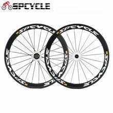 Spcycle 700C углерода дороги велосипед колеса 50 мм довод гоночный велосипед углерода колесной 3 К Глянцевая 23 мм ширина дороги велосипедов колесных