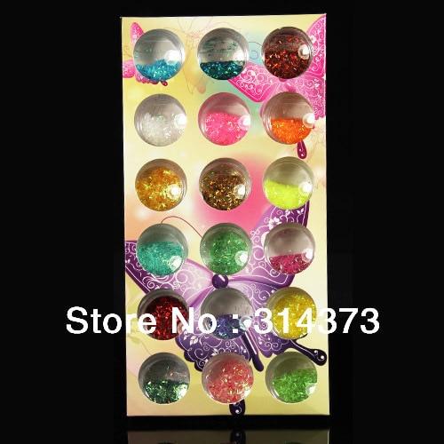 1 Set 18 Pots Colorful Strip Lace Glitter Dust Nail Art Acrylic UV Gel Salon Decor Decorations Accessories