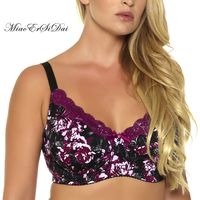 MiaoErSiDai New Women Lace Floral Print Unlined Bra Plus Size C D DD DDD E F