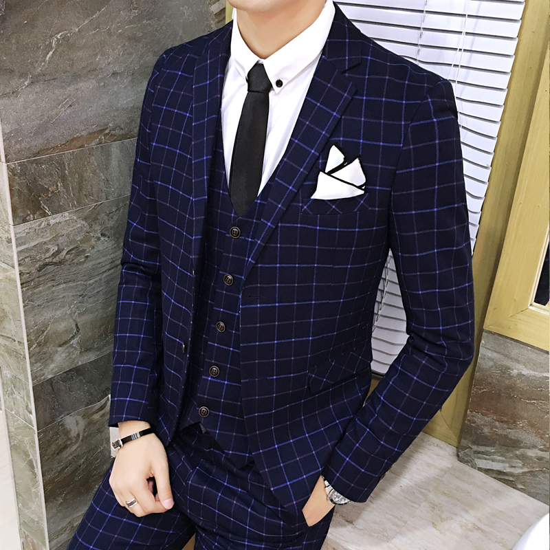 Fashion Men Plaid Suit Slim Elegant Youth Mens Wedding Suits Size 3XL Male Blazer Jackets With Vests And Pants