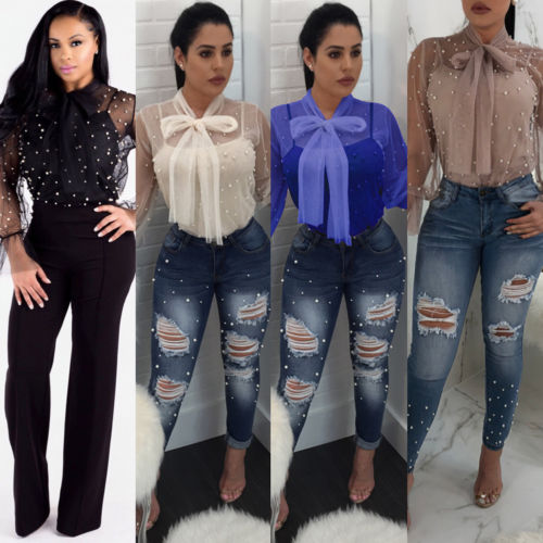 Fashion Womens Beadings Bowknot Chiffon   Blouse     Shirts   Mesh Sheer Long Sleeve Loose   Shirt   V-Neck Casual Ladies Lace Top   Blouses