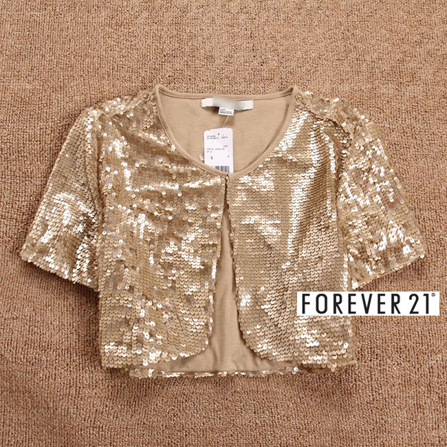 Fashion women ladies elegant gold paillette sequin