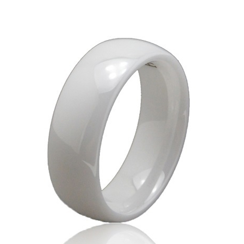 6mm High Polished White Ceramic Wedding Band Ring Unique Birthday Anniversary Gift for Girl Lady Fashion Jewelry WCE002R