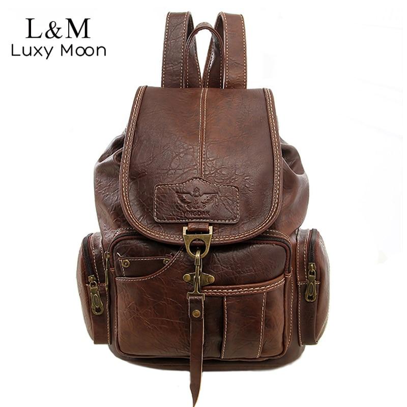 Vintage Women Backpack for Teenage Girls School Bags Large Drawstring Backpacks High Quality PU Leather Black Innrech Market.com