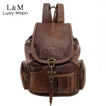 b56f4da7585 Vintage mochila para mujer mochila para las chicas bolsas grandes de  mochilas de cuero de la PU de alta calidad negro marrón bolsa XA658H