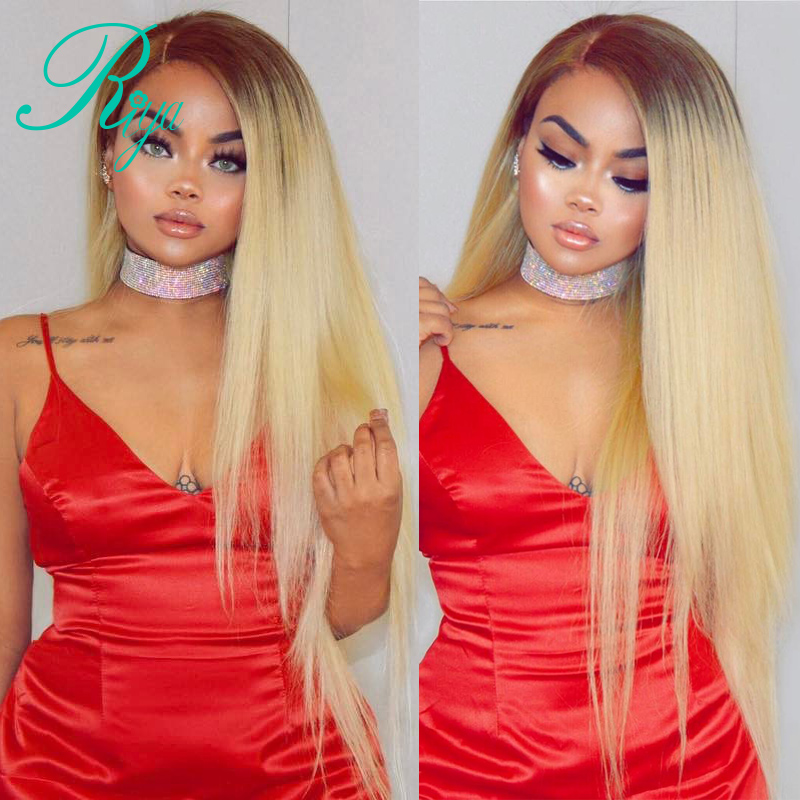 Riya Hair Ombre 1B/613 Human Hair Wig Brazilian Silky Straight Full Lace Wig Remy Hair With Baby Hair and Hairline