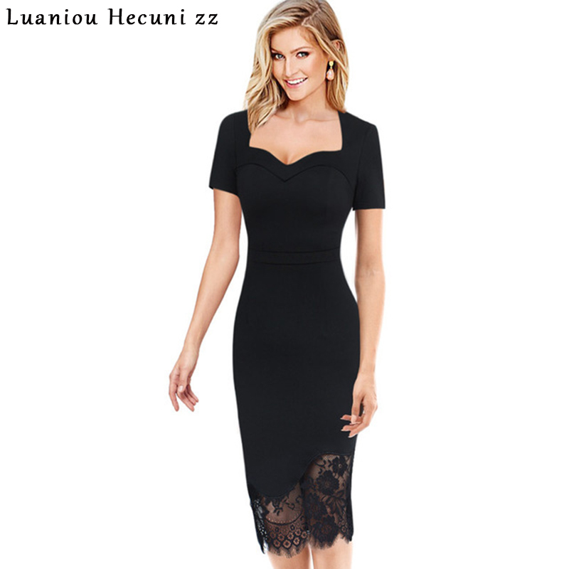 Chu Ni Plus Size 3XL Sexy Black Dress Women Elegant Embroidery Lace Party Special Occasion Wear Bodycon Pencil Dresses JY05