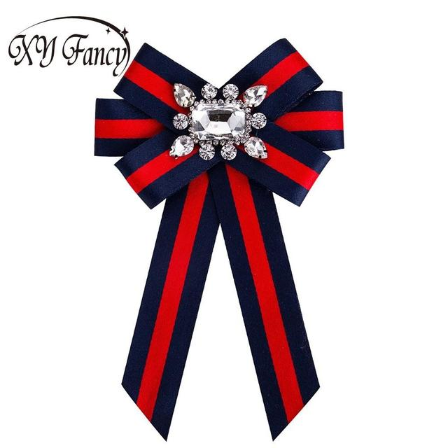 XY Fancy Women Crystal Bow Brooches Collar Pin Jewelry Canvas Fabric  Bowknot Brooch for Women Dress 7594efa7f229