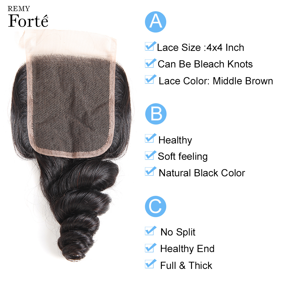 Remy Forte 30 Inch Bundles With Closure Loose Wave Bundles With Closure 100% Brazilian Hair Weave Bundles 2/3 Bundles For Women