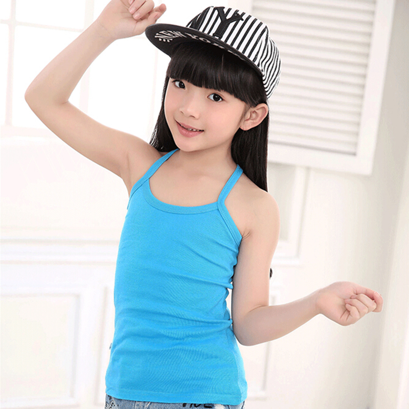 New Solid Tanks For Girls Cotton Comfortable Sling Slim Clothes Fashion Camisole Kids Underwear Children Clothing Free Shipping (10)